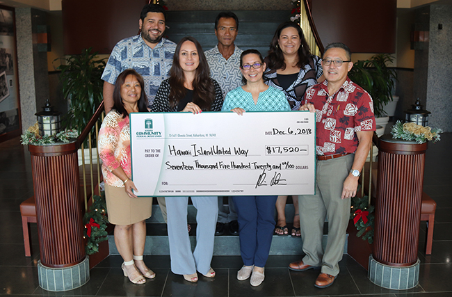 Check presentation for $17,520 for Hawaii Island United Way