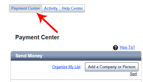 "The ""payment center"" button is the left-most option, located next to the ""activity"" button."